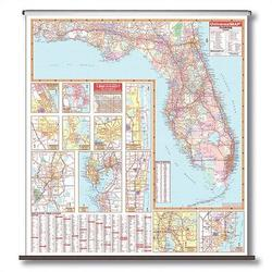 Universal Map State Wall Maps on Rollers w/ Backboards in Blue, Size 54.0 H x 64.0 W in | Wayfair 16725
