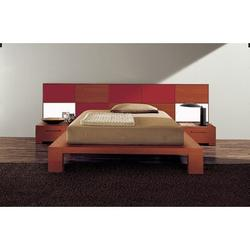 YumanMod Wynd Solid Wood Platform Bed Wood in Red, Size 41.25 H x 75.5 W x 90.25 D in | Wayfair CR53-CONF7-QN