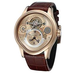 Men Watch Tourbillon Automatic Mechanical Hollow Engraving Black Leather Men Luxury Skeleton Watches (Rose Gold Brown)