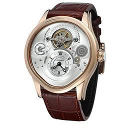 Men Watch Tourbillon Automatic Mechanical Hollow Engraving Black Leather Men Luxury Skeleton Watches (Rose Gold White)