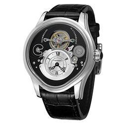 Men Watch Tourbillon Automatic Mechanical Hollow Engraving Black Leather Men Luxury Skeleton Watches (Silver Black)