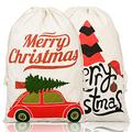 Jokmae Christmas Santa Sacks - Set of 2 Large Gift Bags with 50 Pieces Tags, 27 x 19 inches, Reusable Drawstring Burlap Canvas Xmas Tree Pack for Kids Adults Holiday Presents Wrap Home Decorations