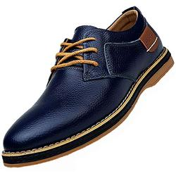 Black Business Casual Shoes Men's Dress Shoes Black Brown Genuine Cow Leather Oxfords Business Casual Shoes Royal Blue Size 10.5 (6811-1-Navyblue-44)