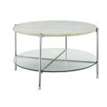 """32"""" Mid Century Modern Round Coffee Table w/ White Marble Top, Glass Shelf & Chrome Legs - Walker Edison AF32SRDCTWMCR"""