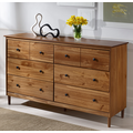 Classic Mid Century Modern 6-Drawer Solid Wood Dresser in Caramel - Walker Edison BR6DDDRCA