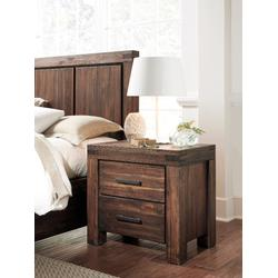Meadow Two Drawer Solid Wood Nightstand in Brick Brown - Modus 3F4181