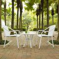 Palm Harbor 3 Piece Outdoor Wicker Café Seating Set in White-- 2 Stacking Chairs & Round Side Table - Crosley KO70060WH
