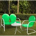 Griffith 3 Piece Metal Outdoor Conversation Seating Set - Loveseat & Chair in Grasshopper Green Finish w/ Side Table in White Finish - Crosley KO10003GR