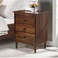 Classic Mid Century Modern 3-Drawer Solid Wood Nightstand in Walnut - Walker Edison BR3DNSWT