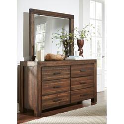 Meadow Six Drawer Solid Wood Dresser in Brick Brown - Modus 3F4182
