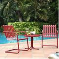 Gracie 3 Piece Metal Outdoor Conversation Seating Set - 2 Chairs & Side Table in Coral Red - Crosley KO10007RE