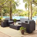 Palm Harbor 5-Piece Outdoor Wicker Conversation Set w/ Grey Cushions - Loveseat, Two Swivel Chairs, Side Table & Glass Top Table - Crosley KO70056BR-GY