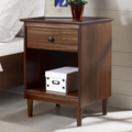 Classic Mid Century Modern 1-Drawer Solid Wood Nightstand Side Table in Walnut - Walker Edison BR1DNSWT