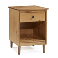 Classic Mid Century Modern 1-Drawer Solid Wood Nightstand Side Table in Caramel - Walker Edison BR1DNSCA