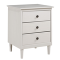 Classic Mid Century Modern 3-Drawer Solid Wood Nightstand in White - Walker Edison BR3DNSWH