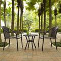 Palm Harbor 3 Piece Outdoor Wicker Café Seating Set in Brown -- 2 Stacking Chairs & Round Side Table - Crosley KO70060BR