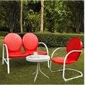 Griffith 3 Piece Metal Outdoor Conversation Seating Set - Loveseat & Chair in Red Finish w/ Side Table in White Finish - Crosley KO10003RE