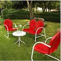 Griffith 4 Piece Metal Outdoor Conversation Seating Set - Loveseat & 2 Chairs in Red Finish w/ Side Table in White Finish - Crosley KO10001RE