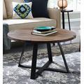 """30"""" Rustic Urban Industrial Wood & Metal Wrap Round Coffee Table in Dark Walnut/Black - Walker Edison AF30MWCTDW"""