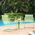 Gracie 3 Piece Metal Outdoor Conversation Seating Set - 2 Chairs & Side Table in Oasis Green - Crosley KO10007GR