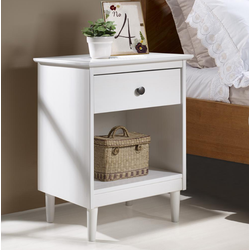 Classic Mid Century Modern 1-Drawer Solid Wood Nightstand Side Table in White - Walker Edison BR1DNSWH
