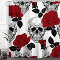 "Baccessor Skulls Shower Curtain Sugar Rose Flowers Skull Skeleton Halloween All Saints Day Black and White Waterproof Bathroom Decor with Hooks,72"" W x 72"" H (180CM x 180CM) - Red Rose Skull"