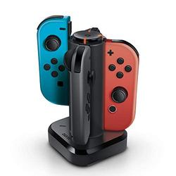 Bionik Tetra Power - Nintendo Switch Joy Con Charging Dock (4 Controllers) with Built-In Cable Adjustment System and LED Charge Status Indicators