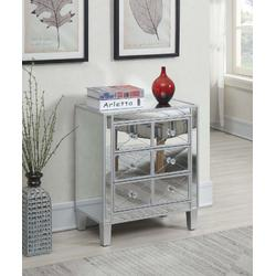 Gold Coast BettyB Mirrored End Table in Mirror/Silver - Convenience Concepts 413255SS