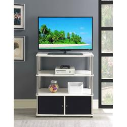 Designs2Go Highboy TV Stand in White/Black Doors - Convenience Concepts 151239W