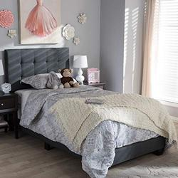 """Baxton Studio Brookfield Modern and Contemporary Charcoal Grey Fabric Twin Size Bed Contemporary/Dark Gray/Fabric Polyester 100%""""/MDF/Foam/"""