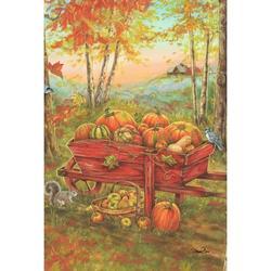 Toland Home Garden Harvest Wheel Barrow Garden flag in Brown, Size 18.0 H x 12.5 W in | Wayfair 1110101