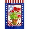 Toland Home Garden Patriotic Geranium Pot Garden flag in Blue/Gray, Size 18.0 H x 12.5 W in | Wayfair 1110216