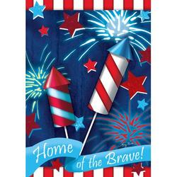 """Toland Home Garden Home Of The Brave Garden flag in Blue, Size Small (Less than 13"""" wide) Extra Small 