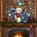 The Holiday Aisle® Frosty on Hanging Figurine Wooden Door Hanger Wood in Brown, Size 24.0 H x 18.0 W x 0.25 D in | Wayfair