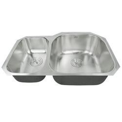 "eModern Decor Ariel Pearl 31.5"" L x 20.5"" W Double Bowl Kitchen SinkStainless Steel in Gray, Size 9.0 H x 31.5 W x 20.5 D in   Wayfair ALP-909RS"
