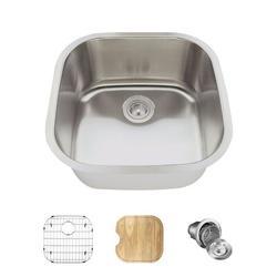 "MR Direct Stainless Steel 20"" x 20"" Undermount Bar Sink w/ Additional AccessoriesStainless Steel in Gray, Size 9.25 H x 20.0 W x 20.0 D in | Wayfair"