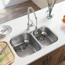 "MR Direct Stainless Steel 32"" x 21"" Double Basin Undermount Kitchen SinkStainless Steel in Gray, Size 9.25 H x 32.0 W x 20.75 D in | Wayfair"