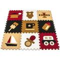 "Matney kids Interlocking Puzzle Set 0.5"" Thick Nap Mat, Foam/Plastic in Red/Brown/Black, Size 1""H X 12""W X 12""D | Wayfair MAT-CRPT1"