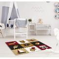 "Matney Interlocking Puzzle Set 0.5"" Thick Nap Mat Foam/Plastic in Black/Brown/Red, Size 0.5 H x 12.5 W x 12.5 D in | Wayfair MAT-CRPT1"