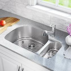 "MR Direct Stainless Steel 32"" x 21"" Double Basin Undermount Kitchen SinkStainless Steel in Gray, Size 9.25 H x 31.75 W x 20.88 D in   Wayfair"