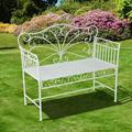 August Grove® Ashly Antique Cast Iron Garden BenchMetal in White, Size 37.75 H x 20.0 W x 42.5 D in | Wayfair EB3870E2D3B7465DA35E59110FEF6F3B