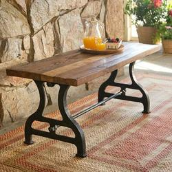 Plow & Hearth Reclaimed Wood/Iron Garden BenchWood in Black/Brown/White, Size 18.5 H x 42.0 W x 18.0 D in | Wayfair 62A10