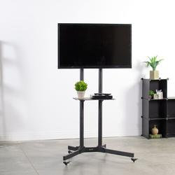 """VivoTilt Floor Stand Mount w/ Shelving, Holds up to 110 lbs in Black, Size 67""""H X 34""""W X 26""""D 