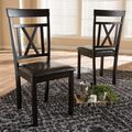 Winston Porter Titcomb Cross Back Side Chair in Dark Faux Leather/Wood/Upholstered in Brown, Size 37.01 H x 16.85 W x 19.29 D in   Wayfair