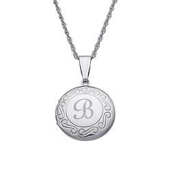 Limoges Kids Jewelry Girls' Necklaces White - Silvertone Personalized Initial Round Locket