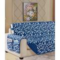 Elegance Linen Indoor Furniture Covers Navy - Navy Blue Leaf Quilted Pocket-Accent Reversible Furniture Protector