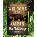 Personalized Planet Garden Flags - 'Welcome To Our Cabin' Personalized Garden Flag