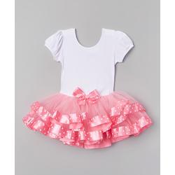 Wenchoice Girls' Leotards PINK,WHITE - Pink & White Polka Dot Tutu Dress - Infant & Toddler