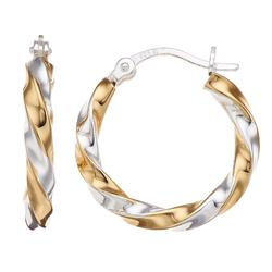 Primavera Two-Tone 24k Gold and Sterling Silver Twisted Hoop Earrings, Women's, Multicolor