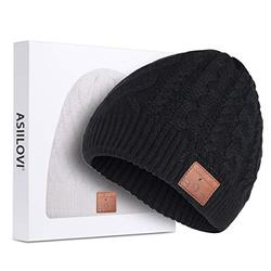 ASIILOVI Bluetooth Beanie, Bluetooth 5.0 Wireless Winter Warm Knit Hats Cap with Double Fleece Lined, Mic and HD Speakers, Gifts for Outdoors Family Thanksgiving Christmas-Unisex (02-Black)